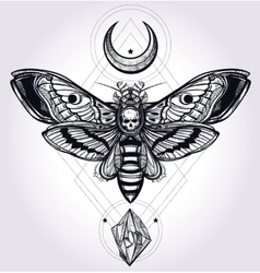 Deaths head hawk moth with moons and stones vector