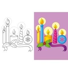 Coloring book of different christmas candles vector