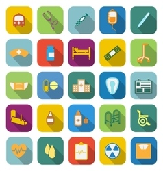 Hospital color icons with long shadow vector