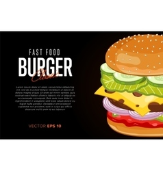 Burger on black background with abstract text vector