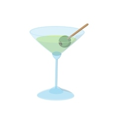 Cocktail with green olive icon cartoon style vector image