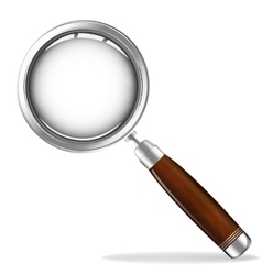 Magnifying glass with wooden handle vector