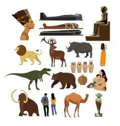 Set of archaeological museum displays vector
