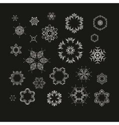 Set of silver fractal mandala vector