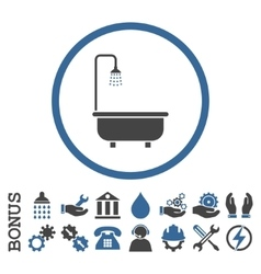 Shower bath flat rounded icon with bonus vector