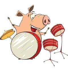 A pig musician cartoon vector