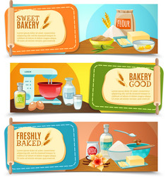Baking ingredients horizontal banners vector