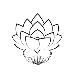 Black stylized image of a lotus flower on a white vector image
