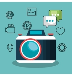 camera social media design isolated vector image vector image