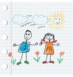 cartoon doodle children vector image