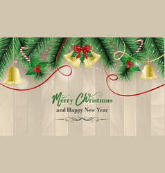 Christmas and new year wishes with golden bells vector