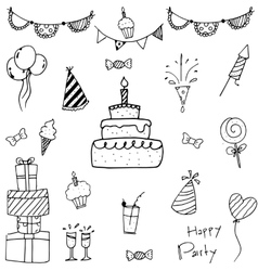 Collection bithday doodle art vector image
