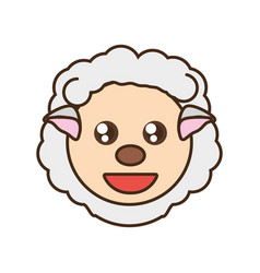 cute sheep face kawaii style vector image