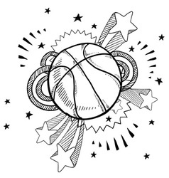 doodle pop basketball vector image vector image