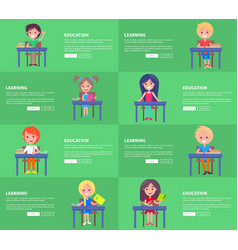 education and learning set of green posters blocks vector image vector image