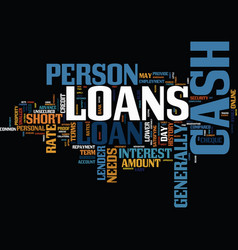 Endorse your needs with cash loans text vector