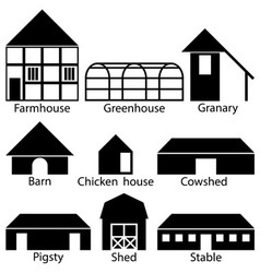 Farm buildings icons vector