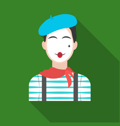 French mime icon in flat style isolated on white vector