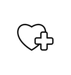 heart with medical sign icon on white background vector image vector image