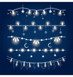 Illuminated christmas garland set vector