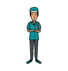 Man in uniform of delivery worker standing vector
