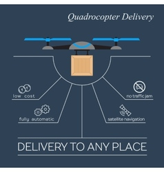 Quadrocopter delivery flat infographic vector