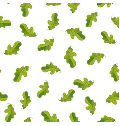 seamless pattern with hand drawn cute green oak vector image vector image