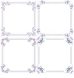 Set multilayer violet blue elegant frame vector