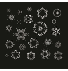 Set of silver fractal mandala vector image