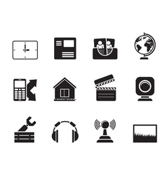Silhouette mobile phone and computer icons vector