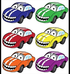 Smiling cartoon car with stripes on the hood vector