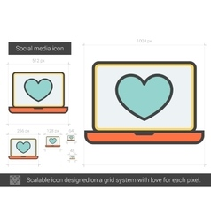 Social media line icon vector image vector image