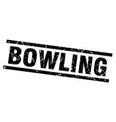 Square grunge black bowling stamp vector
