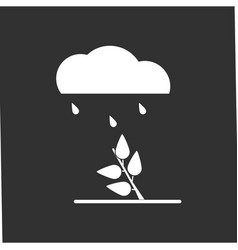 White icon on black background rain and bush vector