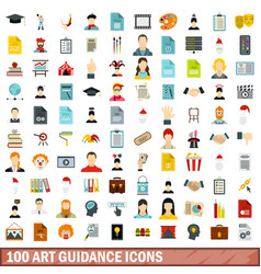 100 art guidance icons set flat style vector image