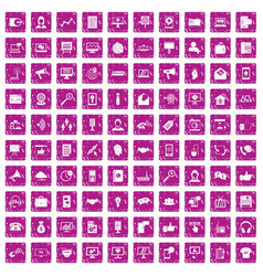 100 help desk icons set grunge pink vector image vector image