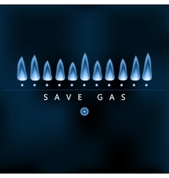 Save gas blue gas flame energy saving vector