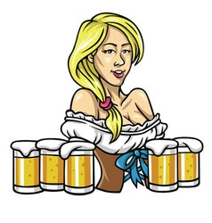 Oktoberfest sexy girl holding the beers vector