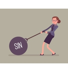Businesswoman dragging a weight sin on chain vector