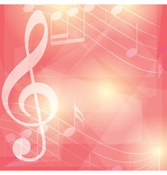 red music background with notes vector image