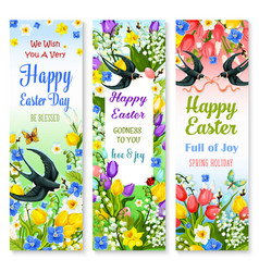 Easter holidays floral banner with flower and bird vector