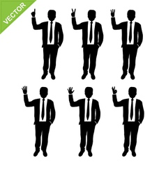 Business man silhouettes counting numbers vector