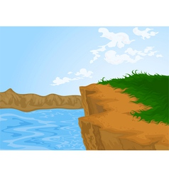 Hill and river nature background vector