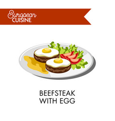 Beefsteak with egg and tomatoes from european vector