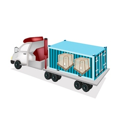A semi-trailer loading wooden crates in container vector