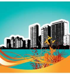 wavy floral city vector image