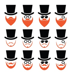 Man in hat with ginger beard and glasses icons set vector image
