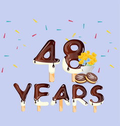 48th years happy birthday card vector image vector image
