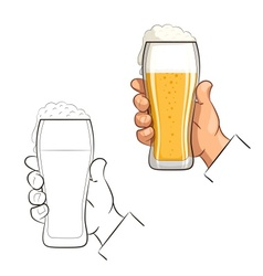 Glass of beer in hand vector