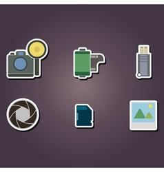 Color icons with photography theme vector